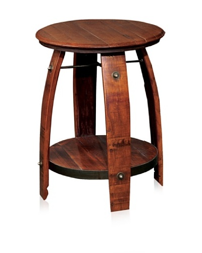 2 Day Designs 28 Barrel Side Table with Shelf