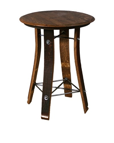 2 Day Designs Barrel Top Side Table, Caramel, 28