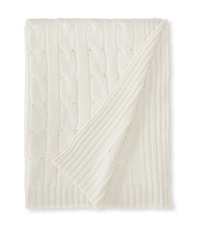 "a & R Cashmere Cable Knit Wool and Cashmere Throw, Crème Fraîche, 50"" x 65"""