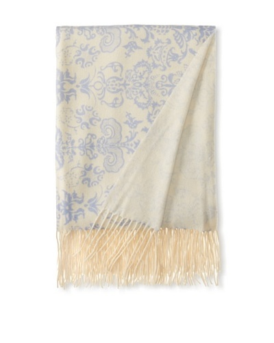 "a & R Cashmere Printed Wool and Cashmere Throw, Crème Fraîche/Blue, 50"" x 65"""