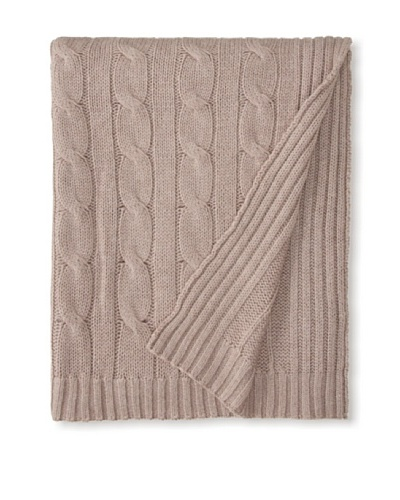 "a & R Cashmere Cable Knit Wool and Cashmere Throw, Sand, 50"" x 65"""