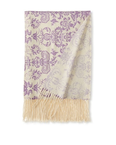 "a & R Cashmere Printed Wool and Cashmere Throw, Crème Fraîche/Violet, 50"" x 65"""