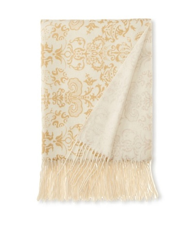 "a & R Cashmere Printed Wool and Cashmere Throw, Crème Fraîche/Gold, 50"" x 65"""