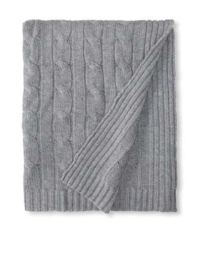 "a & R Cashmere Cable Knit Wool and Cashmere Throw, Heather Grey, 50"" x 65"""