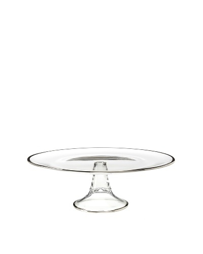 A Casa K Giar 1 Décor Crystal Round Footed Platter, Clear/Platinum