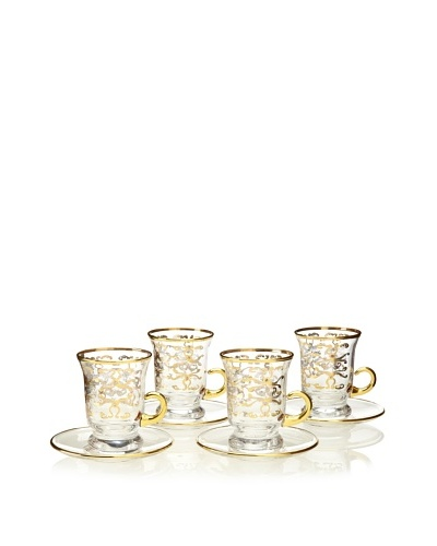 A Casa K Set of 4 Freg12 Décor Crystal 4-Oz. Coffee Cup & Saucer Set, Clear/Gold