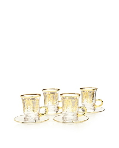 A Casa K York Décor Set of 4 Crystal 3.5-Oz. Espresso Cup & Saucer Set, Clear/Gold
