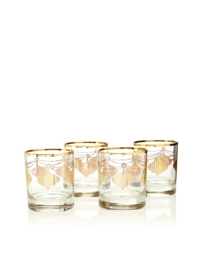 A Casa K Set of 4 Marrekesh Décor 8.5-Oz. Crystal Double Old Fashion Glasses, Clear/Gold