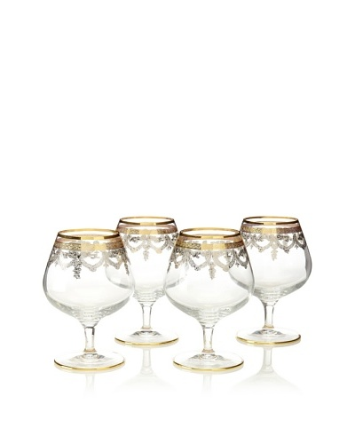 A Casa K Set of 4 Melodie Décor Crystal 8.5-Oz. Cognac Glasses, Clear/Gold