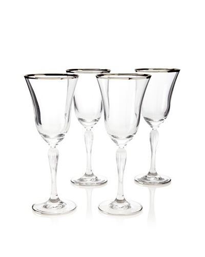 A Casa K Set of 4 Giar 2 Décor 8.5-Oz. Crystal Cordial Glasses, Clear/Platinum