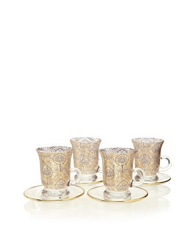 A Casa K Set of 4 Dupont Décor Crystal 5-Oz. Teacup & Saucer Set, Clear/Gold