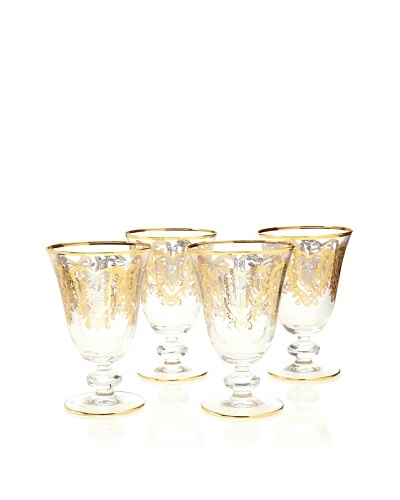 A Casa K York Set of 4 Décor Crystal 12-Oz. Water Glasses, Clear/Gold