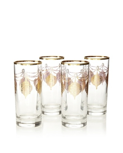 A Casa K Set of 4 Marrekesh Décor 8.5-Oz. Crystal Hi-Ball Glasses, Clear/Gold
