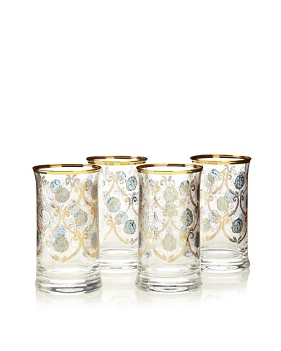 A Casa K Set of 4 Ortensia Décor Crystal 8-Oz. Engraved Hi-Ball Glasses, Clear/Gold