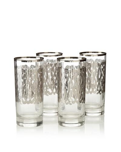 A Casa K Set of 4 Engima Décor Crystal 8-Oz. Hi-Ball Glasses, Clear/Platinum