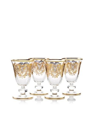 A Casa K York Décor Set of 4 Crystal 8-oz. Goblets, Clear/Gold
