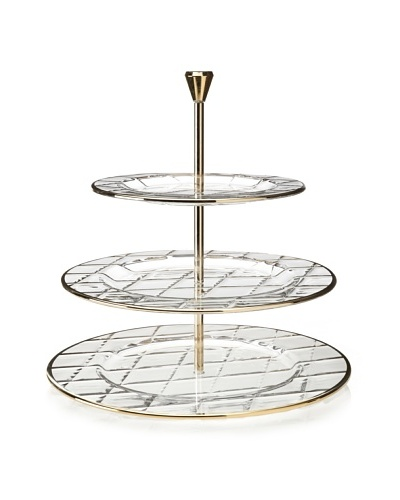 A Casa K Velvet Décor Crystal 3-Tier Stand, Clear/Gold