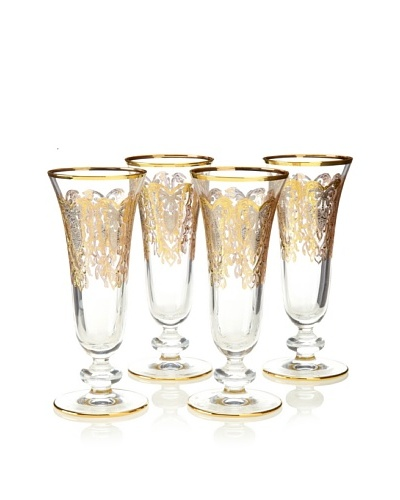 A Casa K Set of 4 York Décor Crystal 5-Oz. Champagne Flutes, Clear/Gold