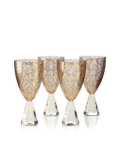 A Casa K Set of 4 Dupont Décor Crystal 8-Oz. Large Goblets, Clear/Gold