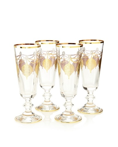 A Casa K Set of 4 Marrekesh Décor Crystal 5-Oz. Champagne Flutes, Clear/Gold