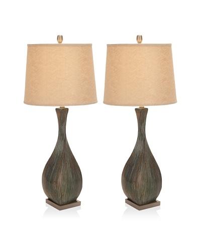 UMA Set of 2 Ceramic/Metal Table Lamps, Multi/Beige