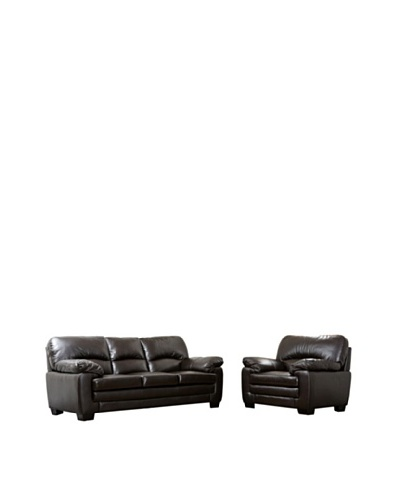 Abbyson Living Lalia Italian Leather 2-Piece Sofa & Armchair Set, Dark Truffle