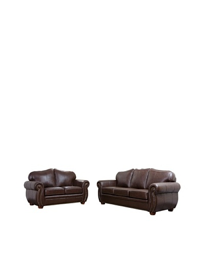 Abbyson Living Macina Leather Sofa and Loveseat Set, Dark Truffle