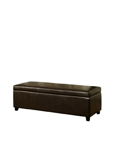 Abbyson Living Camberton Leather Storage Ottoman, Dark Truffle