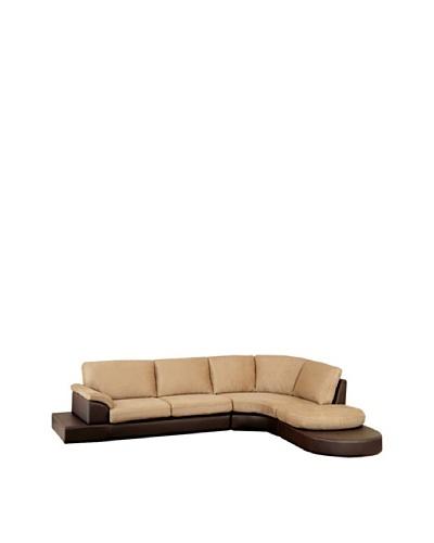 Abbyson Living Cadah Mocha Microsuede Sectional Sofa With Ottoman, Rich Mocha
