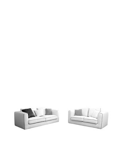 Abbyson Living Perna Linen Sofa and Loveseat Set, White