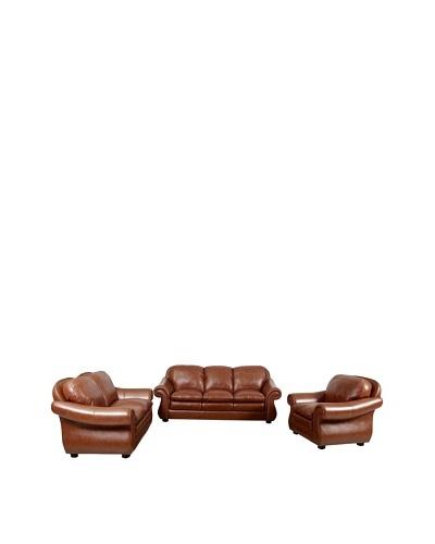 Abbyson Living Houst Semi-Aniline Leather Sofa, Loveseat & Armchair Set, Caramel Brown
