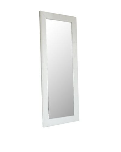Abbyson Living Blaketon Leather Large Floor Mirror, Pure White