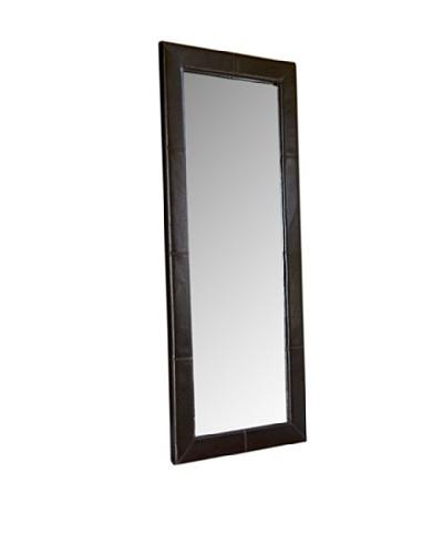 Abbyson Living Blaketon Leather Large Floor Mirror, Maple Almond