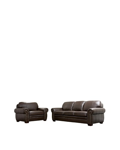 Abbyson Living Vista Sea Leather Oversized Sofa and Chair, Dark Truffle