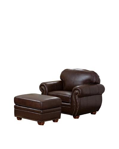 Abbyson Living Pearla 2-Piece Italian Leather Armchair & Ottoman, Dark Truffle