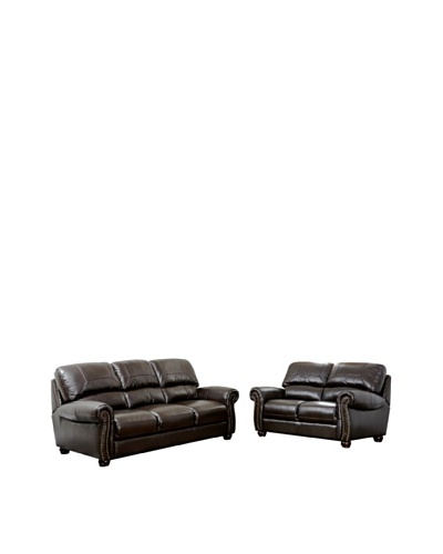 Abbyson Living Berneen Italian Leather Sofa & Loveseat Set