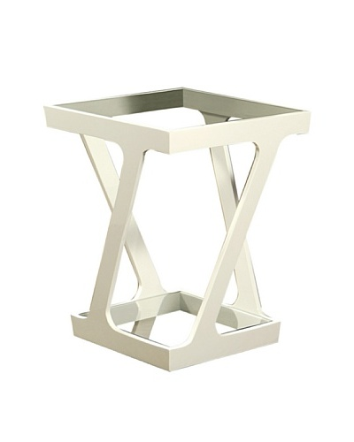 Abbyson Living Accara Glass End Table, White Gloss