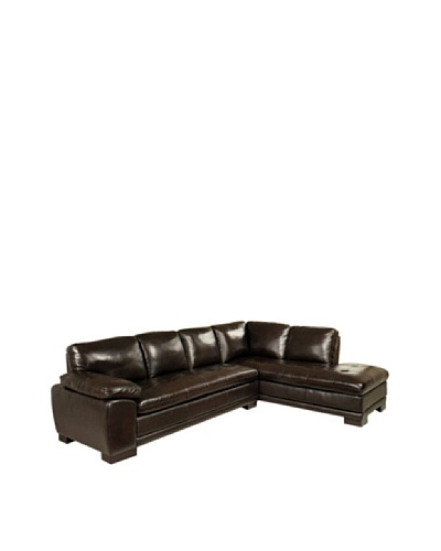 Abbyson Living Tekana Premium Italian Leather Sectional Sofa, Dark Brown
