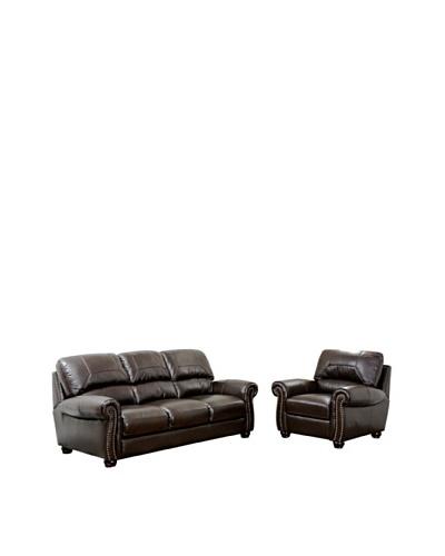 Abbyson Living Berneen Italian Leather Sofa & Armchair, Dark Truffle