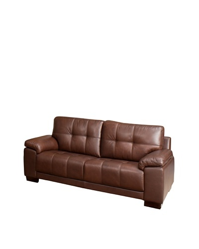 Abbyson Living Arjena Two-Tone Leather Sofa, Chestnut-Brown