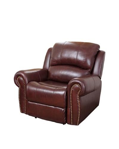 Abbyson Living Hogan Reclining Italian Leather Armchair, Burgundy