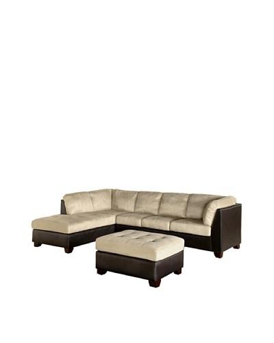 Abbyson Living Channa Sectional Sofa & Ottoman, Sandstone