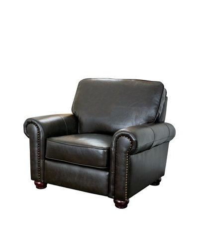 Abbyson Living London Top Grain Leather Armchair, Dark Truffle