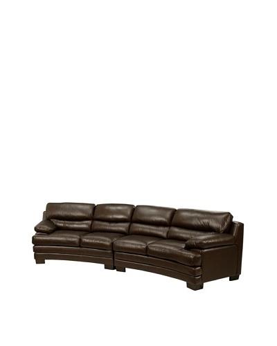 Abbyson Living Tuscanova Leather Sectional Sofa, Chestnut Brown