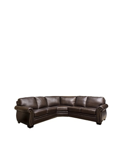Abbyson Living Arizona Italian Leather Sectional Sofa, Dark Truffle