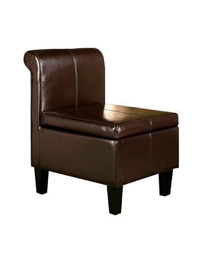 Abbyson Living Frankfurt Flip Top Storage Ottoman Chair, Dark Brown