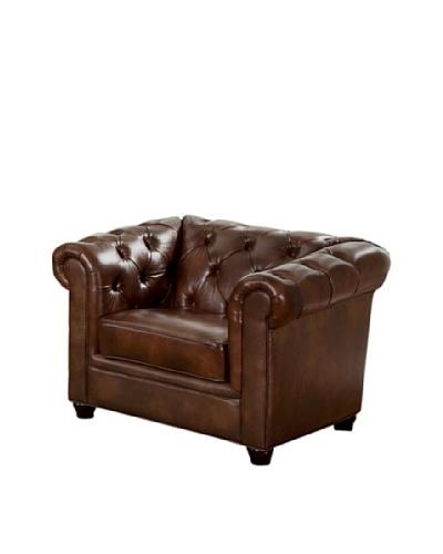 Abbyson Living Pasadeena Italian Leather Armchair, Chestnut Brown