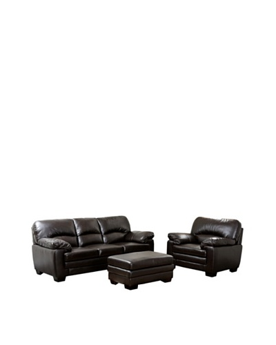 Abbyson Living Lalia Italian Leather 3-Piece Sofa, Armchair & Ottoman Set, Dark Truffle