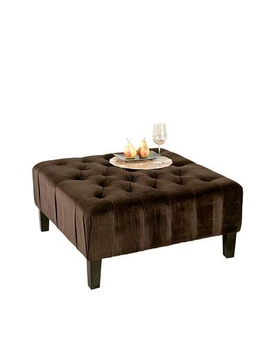 Abbyson Living Valentino Square Tufted Ottoman, Dark Brown