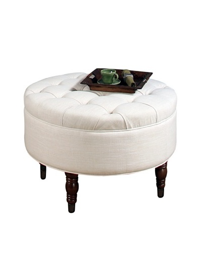 Abbyson Living Avernce Round Flip Top Tufted Ottoman, White